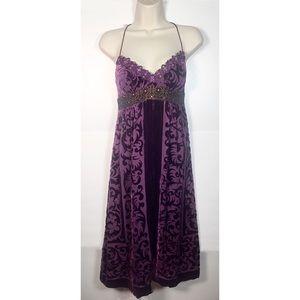 Nicole Miller Purple Velvet Brocade Dress